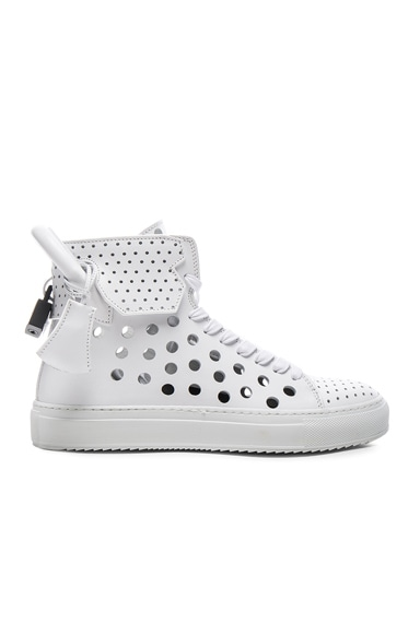 Buscemi 125MM Leather Round Hole Sneakers in White