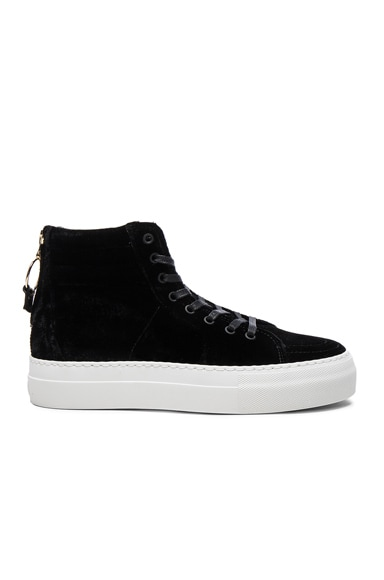 Buscemi 140MM Velour Sneakers in Black & White
