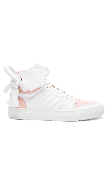 Buscemi 110MM Leather Sneakers in White & Rose