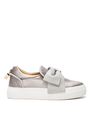 Buscemi 40MM Bow Satin Sneakers in Grey