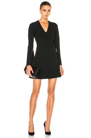 Calvin Klein Collection Kenner Piped V-Neck Long Sleeve Dress in Black