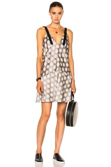 Calvin Klein Collection Knox Multi Print Crew Neck Dress in Black & Beige Big Dots