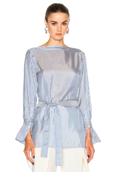 Calvin Klein Collection Keith Bis Boat Neck Belted Cuffed Shirt in Light Blue & White Stripe