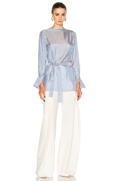 Keith Bis Boat Neck Belted Cuffed Shirt