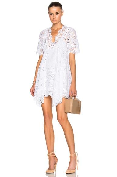Carisa Rene by Nightcap Eyelet Mini Dress in Vintage White
