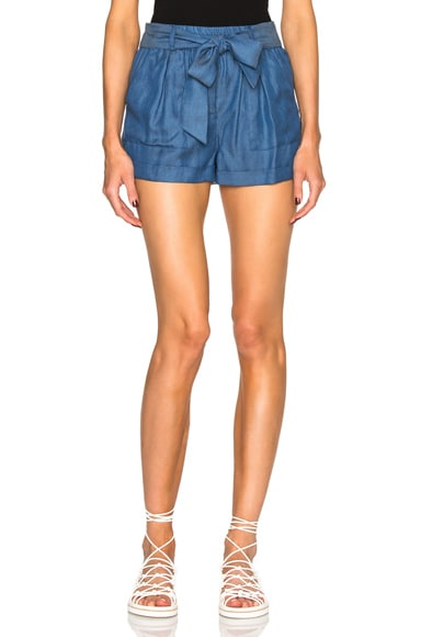 Carisa Rene by Nightcap Chambray Tie Shorts in Denim
