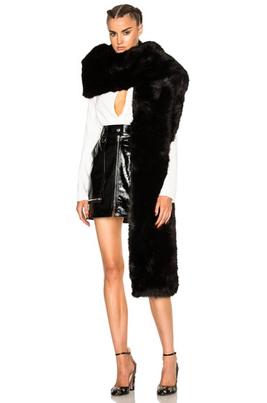 Carven Faux Fur Stole in Noir