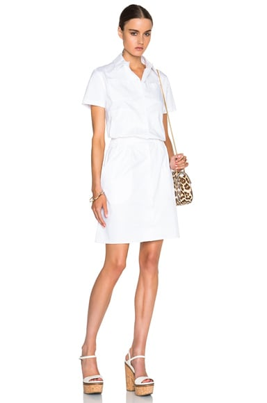 Carven Collared Poplin Dress in Blanc Optique