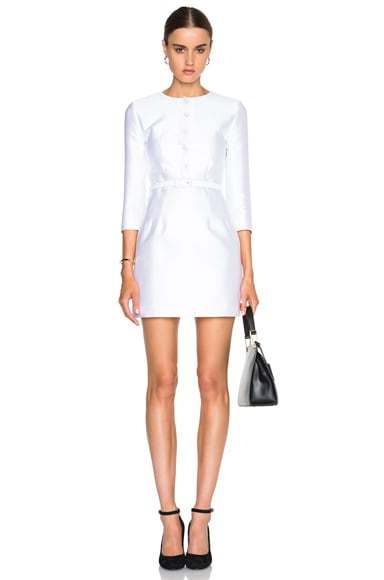 Carven Button Front Belted Dress in Blanc