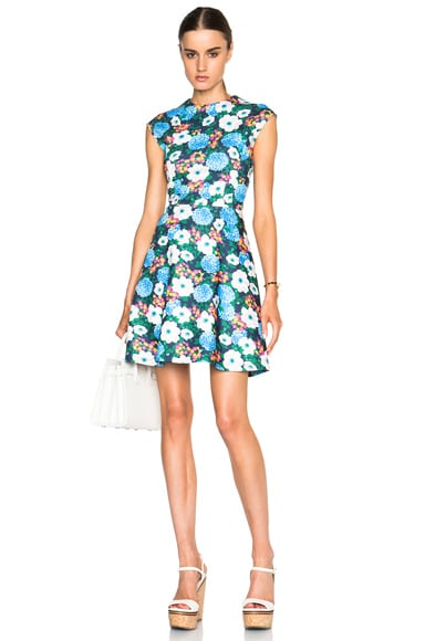 Carven Floral Mini Dress in Blue