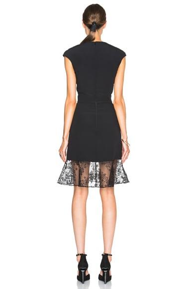 V-Neck Lace Trim Mini Dress