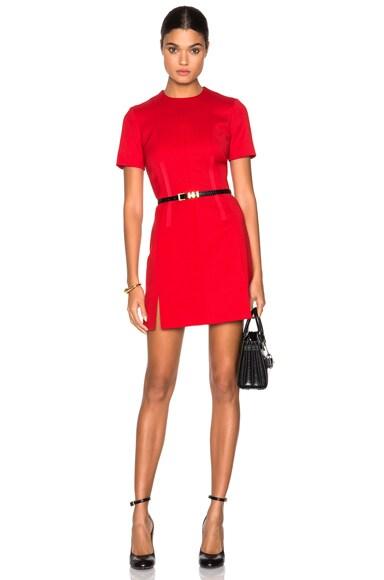 Carven Slit Mini Dress in Red