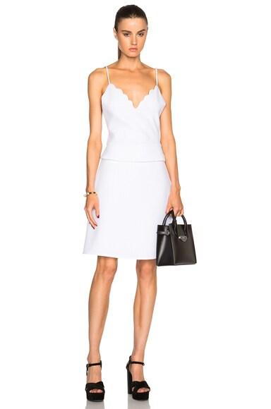 Carven Scalloped Peplum Dress in Blanc