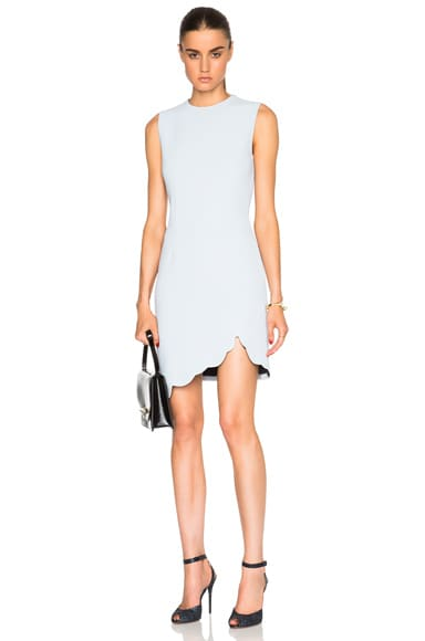 Carven Scalloped Mini Dress in Baby Blue