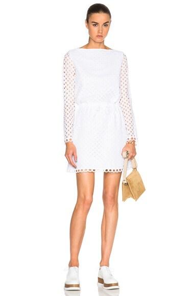 Carven Eyelet Mini Dress in Blanc Optique