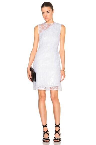 Carven Asymmetrical Organza Dress in Blanc