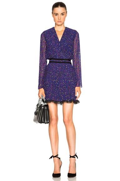 Carven Printed Long Sleeve Dress in Violet & Blue