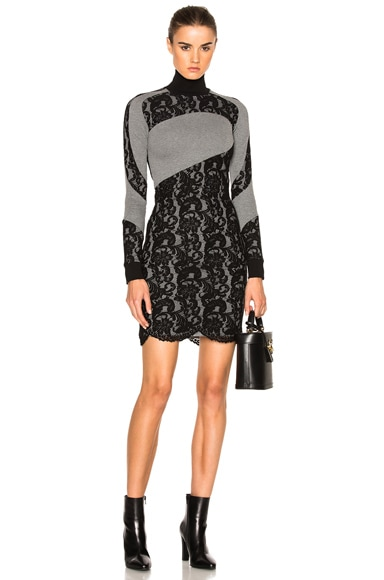 Carven Sweater Dress in Gris Chine & Noir