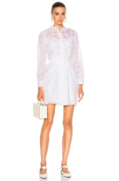 Carven Collared Long Sleeve Dress in Blanc