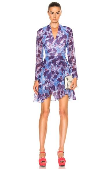 Carven Floral Long Sleeve Dress in Bleu & Violet