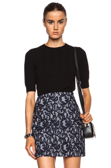 Carven Relief Viscose-Blend Knit Cropped Sweater in Black