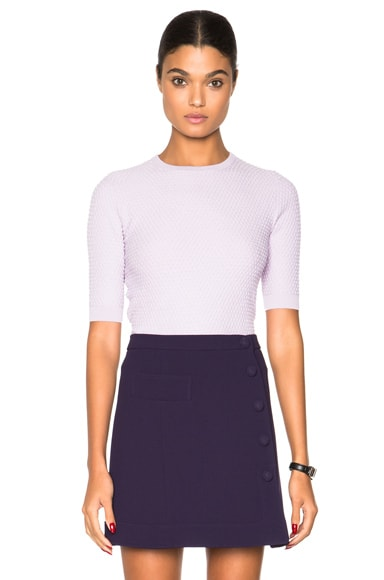 Carven Short Sleeve Pullover Sweater in Lilac