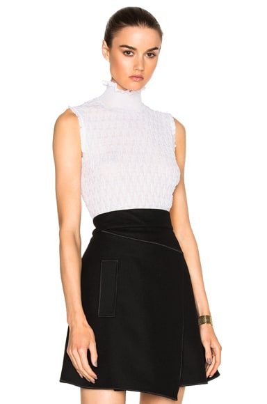 Carven Sleeveless Turtleneck Sweater in White