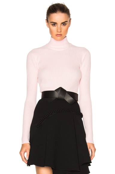 Carven Turtleneck Sweater in Rose Clair