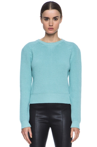 Ribbed Knit Wool Crew Neck Sweater