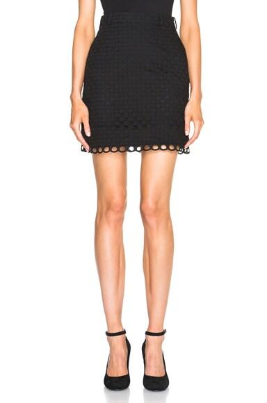 Carven Eyelet Skirt in Noir