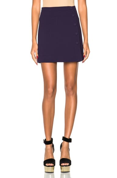 Carven Double Crepe Skirt in Navy
