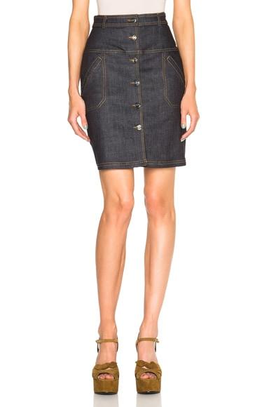 Carven Pocket Mini Skirt in Blue Denim