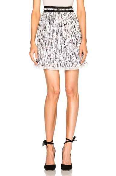 Carven Printed Georgette Skirt in White & Black