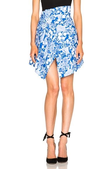 Carven Underwater Printed Skirt in Royal Blue
