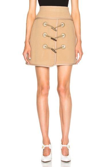 Carven Toggle Mini Skirt in Camel