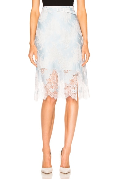 Carven Lace Midi Skirt in Ciel