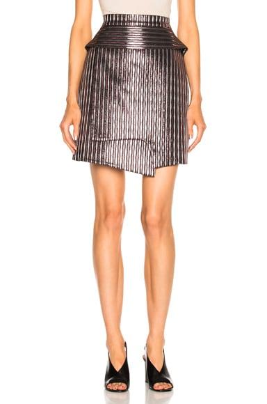 Carven Striped Mini Skirt in Argent & Rose