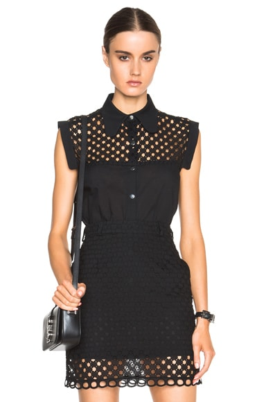 Carven Eyelet Collared Top in Noir