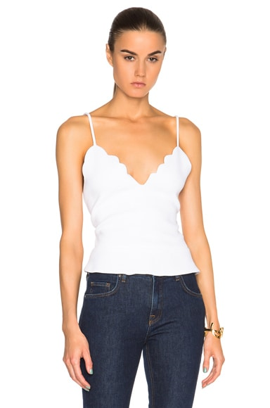 Carven Scalloped Peplum Top in Blanc