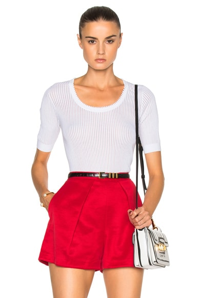 Carven Thin Rib Knit Top in Solid White
