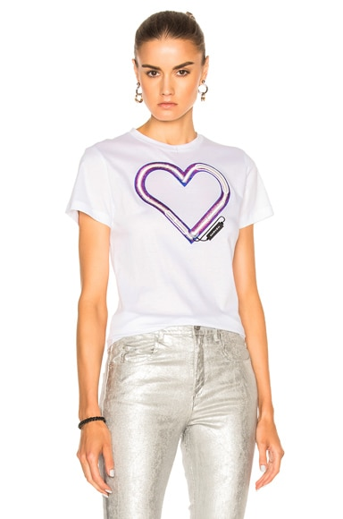 Carven Heart Tee in Blanc Optique