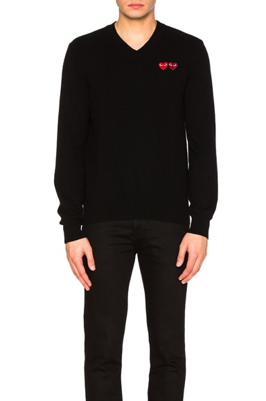 V Neck Double Emblem Sweater