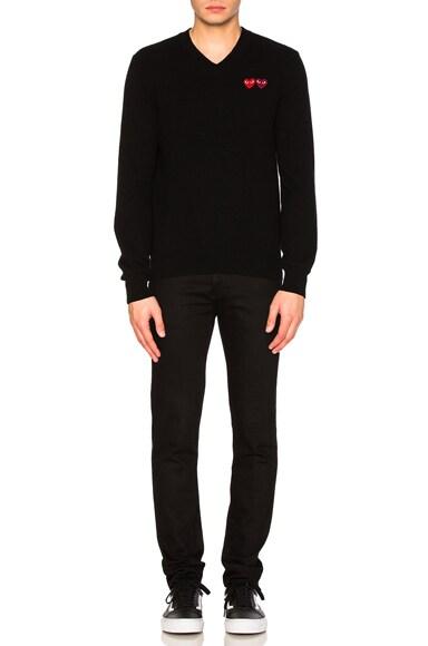 V Neck Double Emblem Sweater