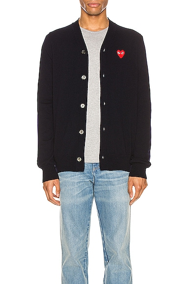 Lambswool Cardigan with Red Emblem