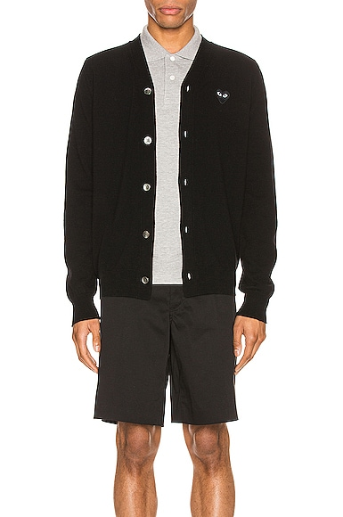 Comme Des Garcons PLAY Lambswool Cardigan with Black Emblem in Black