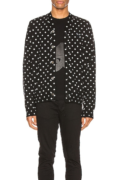 Dot Print Wool Cardigan with Black Emblem