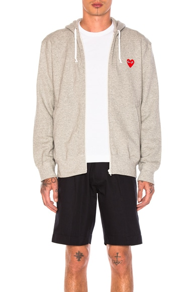 Comme Des Garcons PLAY Red Emblem Zip Cotton Hoodie in Grey