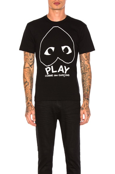 Comme Des Garcons PLAY Play Emblem Cotton Tee in White