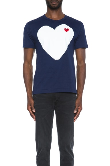 Comme Des Garcons PLAY Red Emblem Cotton Heart Tee in Navy