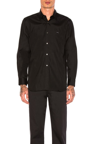 Comme Des Garcons PLAY Small Black Emblem Cotton Button Down in Black